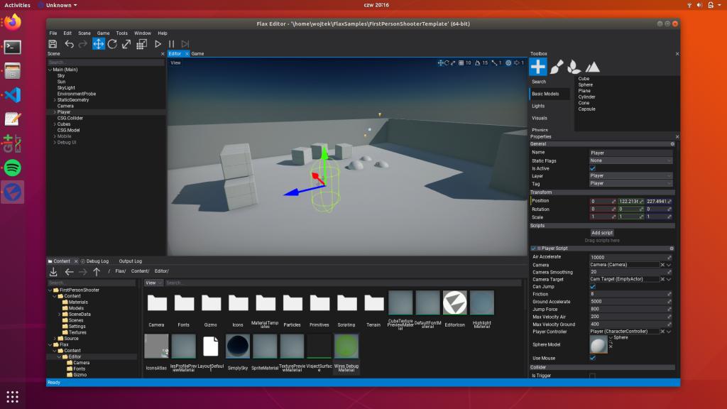 Flax Editor on Linux Vulkan